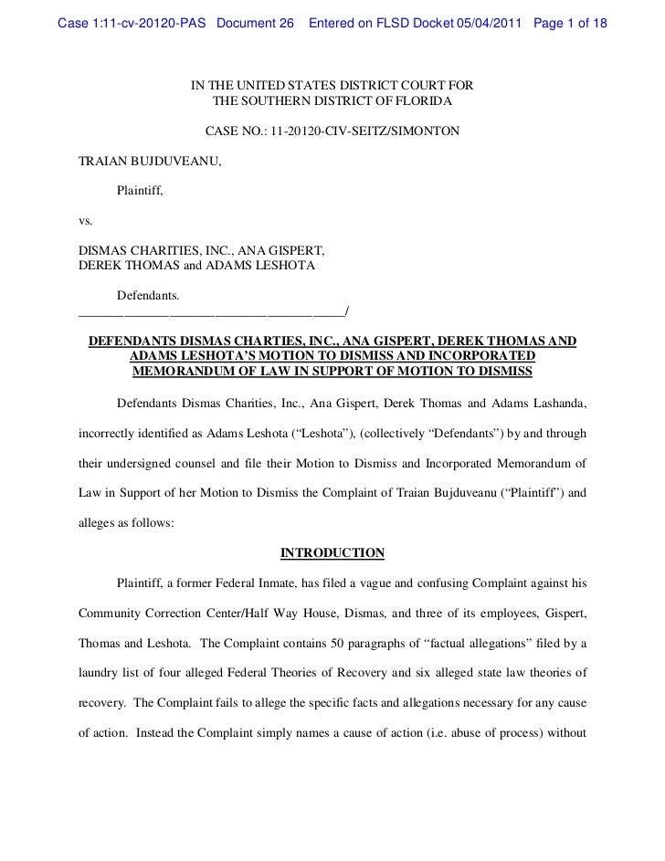 Defendants dismas charities,inc.,ana gispert,derek thomas and adams l…