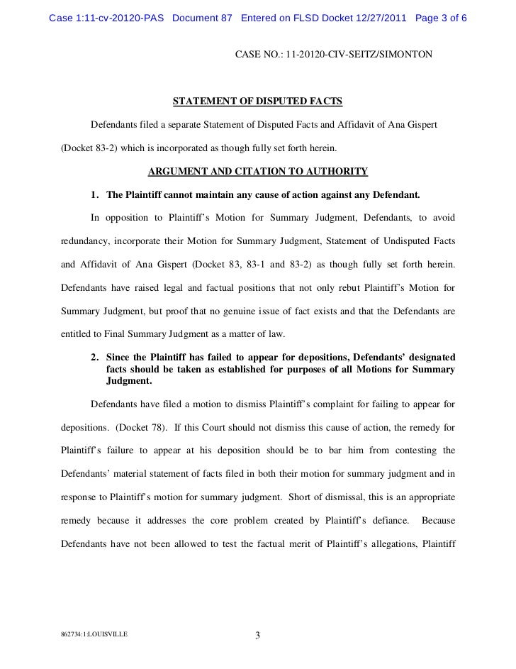 Defendants response brief in opposition to plaintiffs motion for su – Affidavit Statement of Facts