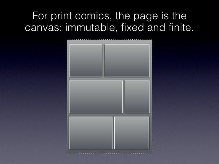 For print comics, the page is thecanvas: immutable, fixed and finite.