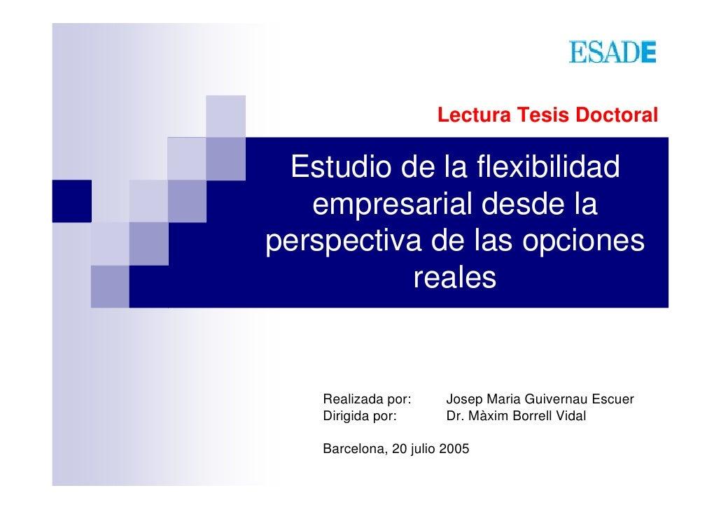 Lectura Tesis Doctoral   Estudio de la flexibilidad    empresarial desde la perspectiva de las opciones           reales  ...