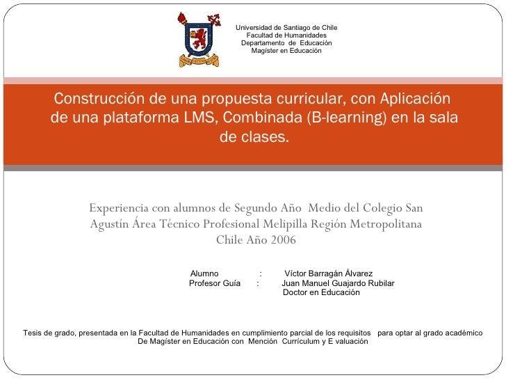 Experiencia con alumnos de Segundo Año  Medio del Colegio San Agustín Área Técnico Profesional Melipilla Región Metropolit...