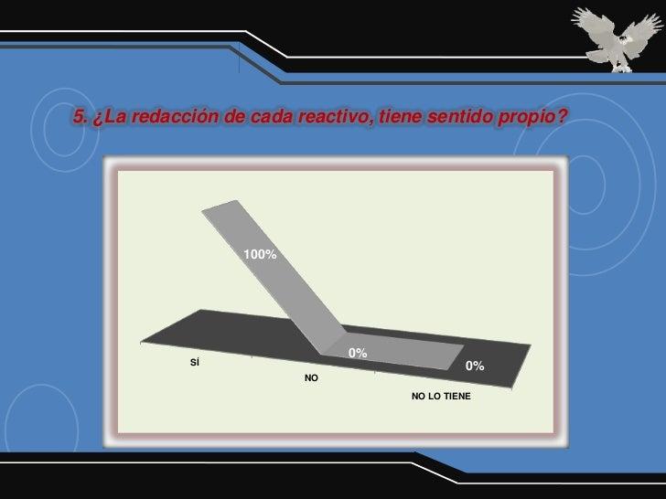 5. ¿La redacción de cada reactivo, tiene sentido propio?                   100%                               0%          ...