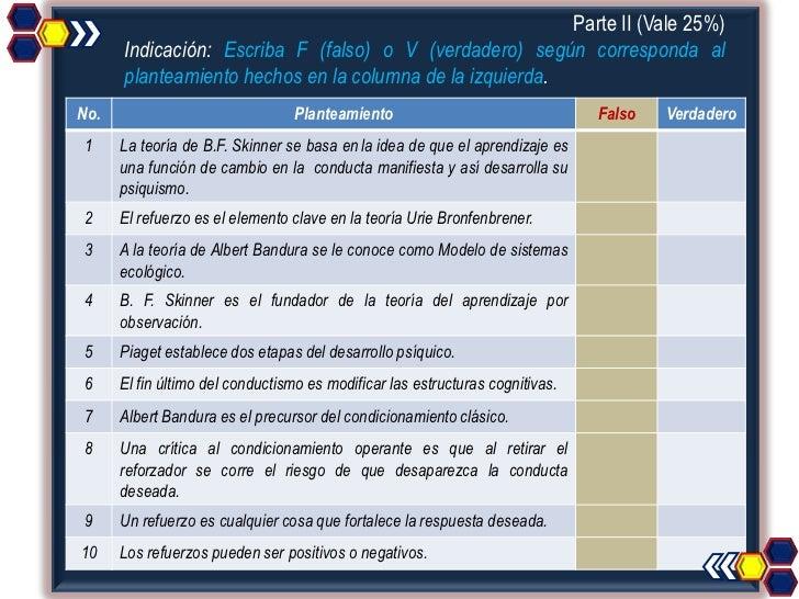 Parte II (Vale 25%)      Indicación: Escriba F (falso) o V (verdadero) según corresponda al      planteamiento hechos en l...