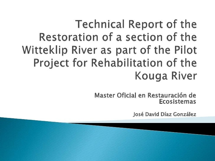 Technical Report of theRestoration of a section of the Witteklip River as part of the Pilot Project for Rehabilitation of ...