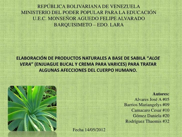 REPÚBLICA BOLIVARIANA DE VENEZUELA MINISTERIO DEL PODER POPULAR PARA LA EDUCACIÓN     U.E.C. MONSEÑOR AGUEDO FELIPE ALVARA...