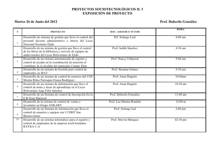PROYECTOS SOCIOTECNOLÓGICOS II. 3                                                 EXPOSICIÓN DE PROYECTOMartes 26 de Junio...