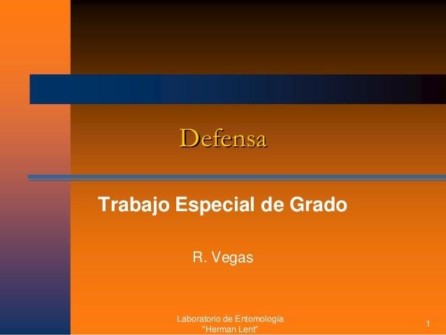 """Laboratorio de Entomología """"Herman Lent"""" 1 Defensa Trabajo Especial de Grado R. Vegas"""