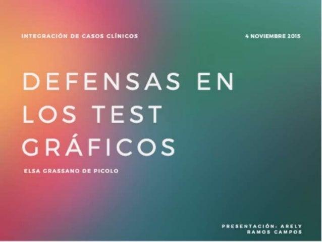INTEGRACIÓN o:  CASOS cumcos 1. NOWEMBRE uns  D}E. FEÍJSAS EN Lo;  TEST GRÁFICOS  ELSA CHASSANO DE PICOLO  PRESENÏACIÓN:  ...