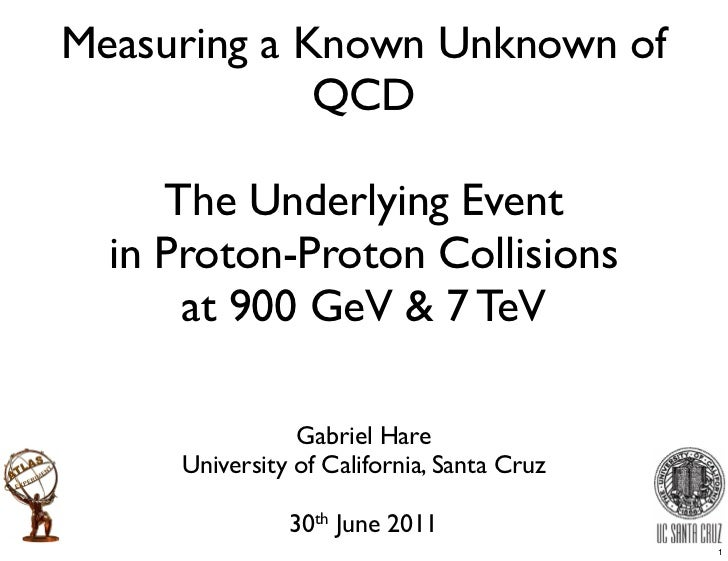 Measuring a Known Unknown of             QCD     The Underlying Event  in Proton-Proton Collisions      at 900 GeV & 7 TeV...