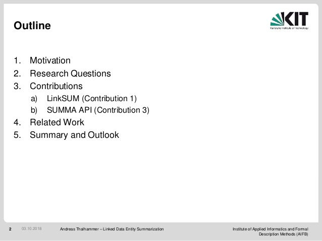 Linked Data Entity Summarization (PhD defense) Slide 2