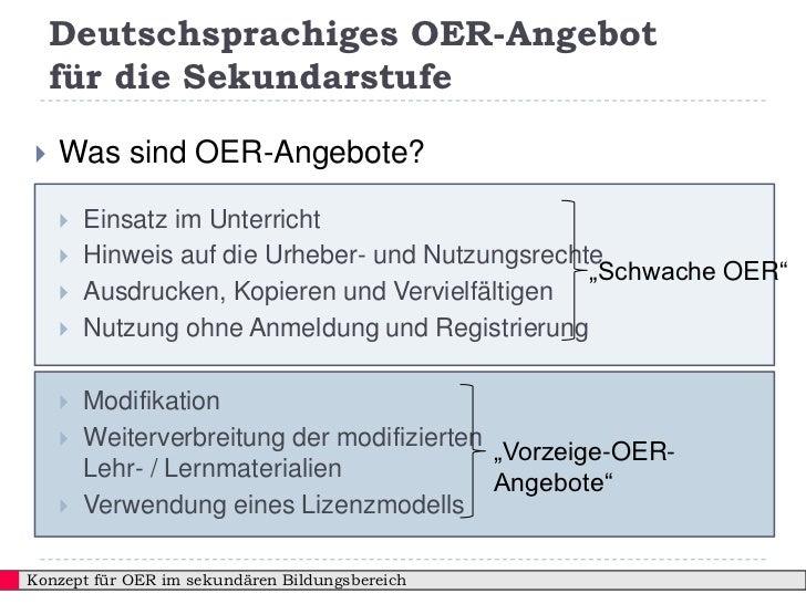 Deutschsprachiges OER-Angebot    für die Sekundarstufe   Was sind OER-Angebote?       Einsatz im Unterricht       Hinwe...