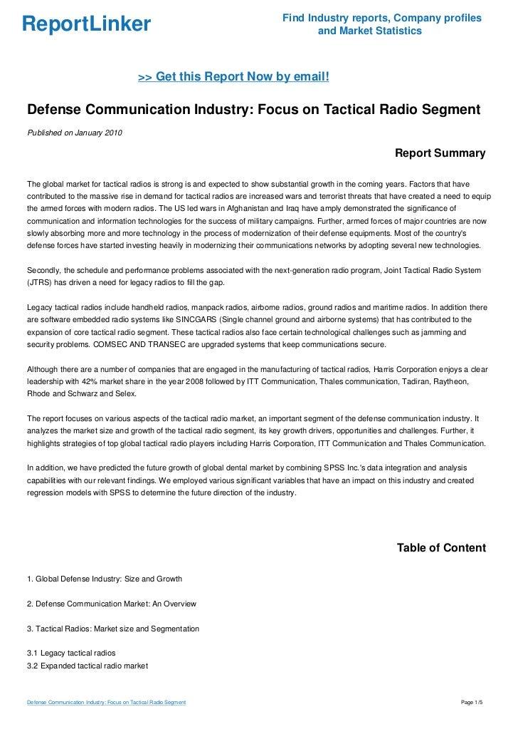Defense Communication Industry: Focus on Tactical Radio Segment