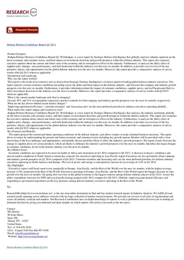 """Defense Business Confidence Report Q1 2014  Product Synopsis """"Defense Business Confidence Report Q1 2014"""" is a..."""