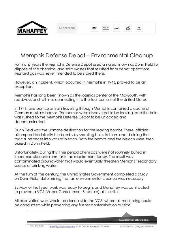 Memphis Defense Depot – Environmental Cleanup  For many years the Memphis Defense Depot used an area known as Dunn Field t...