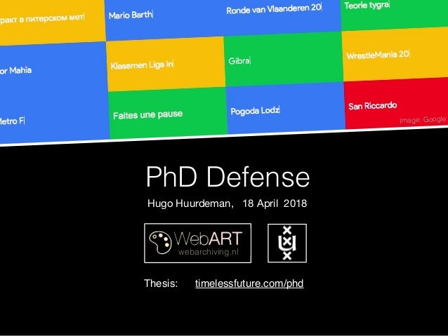 PhD Defense webarchiving.nl Image: Google Hugo Huurdeman, 18 April 2018 Thesis: timelessfuture.com/phd