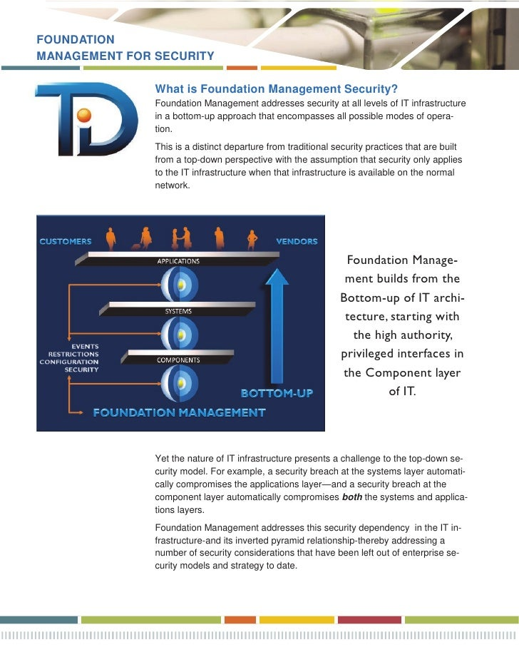 FOUNDATION MANAGEMENT FOR SECURITY                 What is Foundation Management Security?                Foundation Manag...