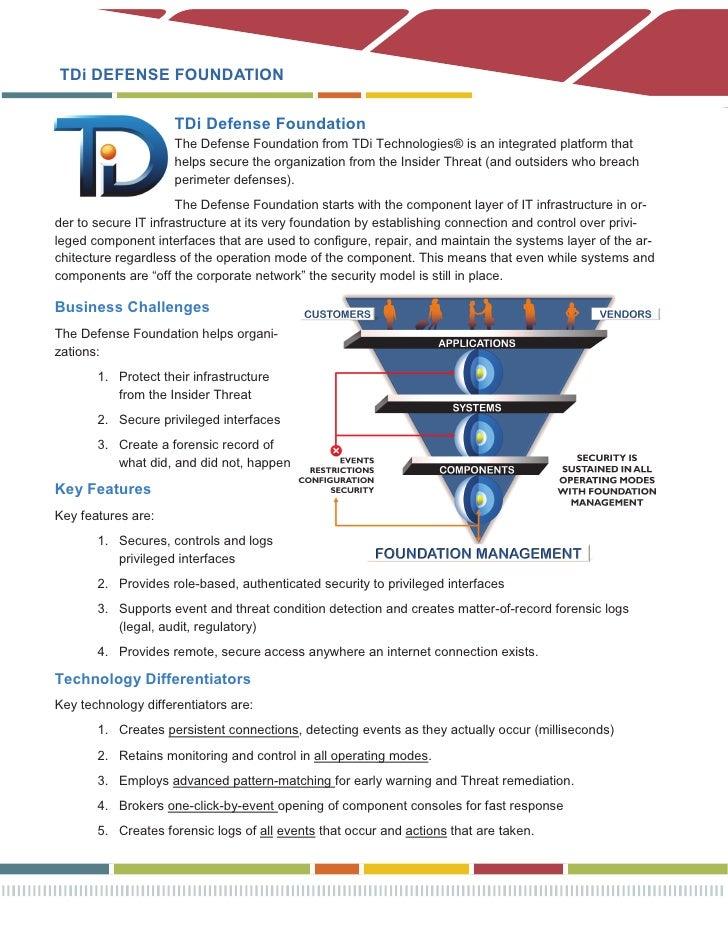 Defense Foundation Product Brief