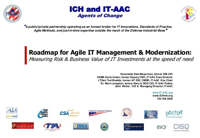 """ICH and IT-AAC Agents of Change """"A public/private partnership operating as an honest broker for IT Innovations, Standards ..."""