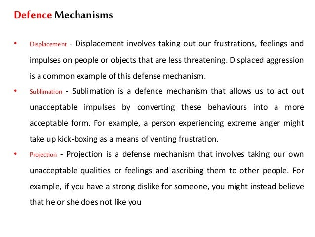 essay on defense mechanisms Defense mechanisms among our students  by margot phaneuf, rn, phd introduction  we often believe that only psychiatric patients, especially psychotics, use defense mechanisms.