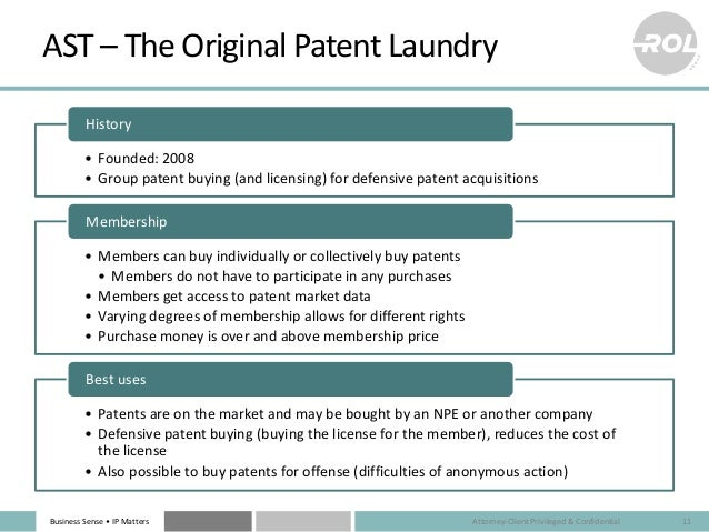Business Sense • IP Matters AST – The Original Patent Laundry • Founded: 2008 • Group patent buying (and licensing) for de...