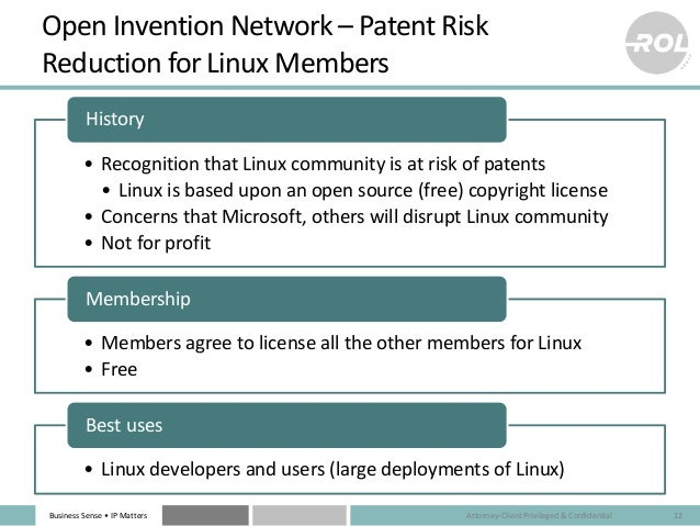 Business Sense • IP Matters Open Invention Network – Patent Risk Reduction for Linux Members • Recognition that Linux comm...