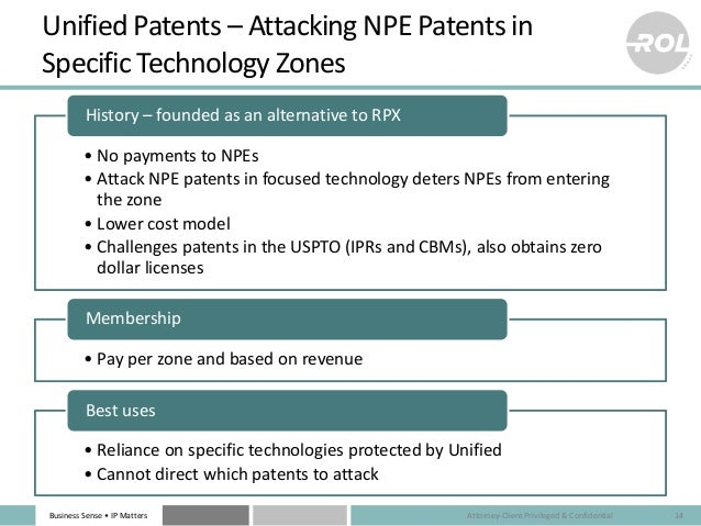 Business Sense • IP Matters Unified Patents – Attacking NPE Patents in Specific Technology Zones • No payments to NPEs • A...