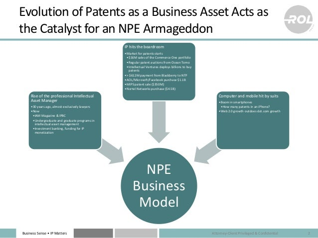 Business Sense • IP Matters Evolution of Patents as a Business Asset Acts as the Catalyst for an NPE Armageddon NPE Busine...