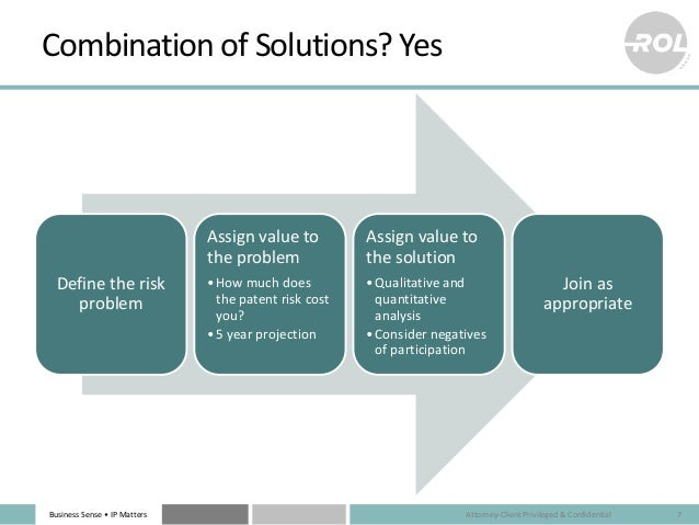 Business Sense • IP Matters Combination of Solutions? Yes Define the risk problem Assign value to the problem •How much do...