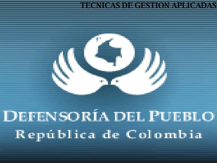 TECNICAS DE GESTION APLICADAS