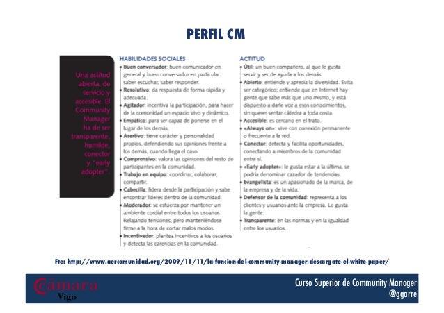 PERFIL CM  Fte: http://www.aercomunidad.org/2009/11/11/la-funcion-del-community-manager-descargate-el-white-paper/  Curso ...