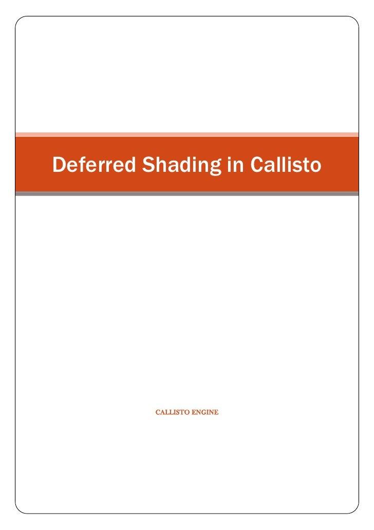Deferred Shading in Callisto     Callisto ENGINE<br />Deferred Shading in Callisto<br />     <br />Tabla de contenido TOC ...