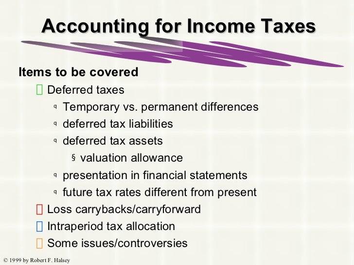 Accounting for Income Taxes <ul><li>Items to be covered </li></ul><ul><ul><li>Deferred taxes </li></ul></ul><ul><ul><ul><l...