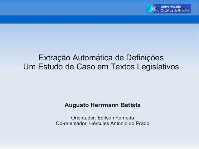 Extração Automática de Definições – Estudo de Caso em Textos LegislativosExtração Automática de Definições – Estudo de Cas...