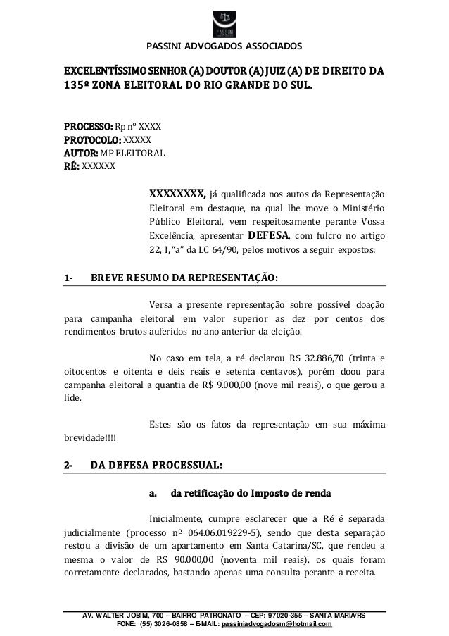 PASSINI ADVOGADOS ASSOCIADOS AV. WALTER JOBIM, 700 – BAIRRO PATRONATO – CEP: 97020-355 – SANTA MARIA/RS FONE: (55) 3026-08...