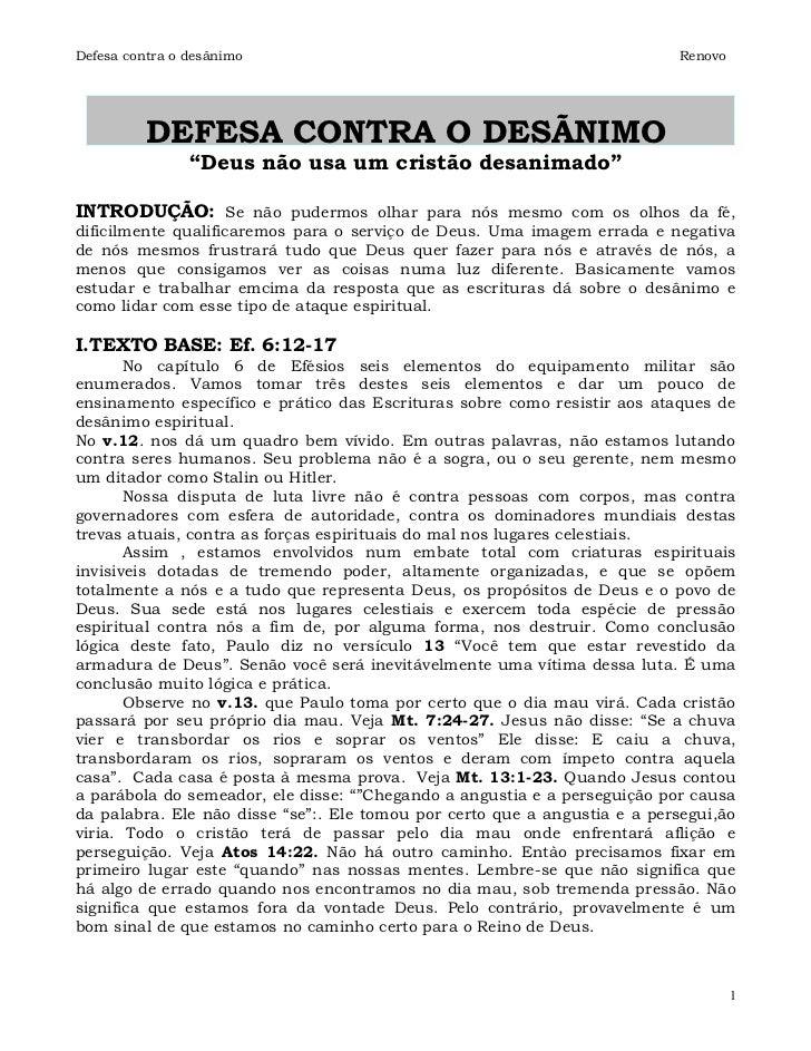 Defesa contra o desânimo                                                   Renovo          DEFESA CONTRA O DESÃNIMO       ...