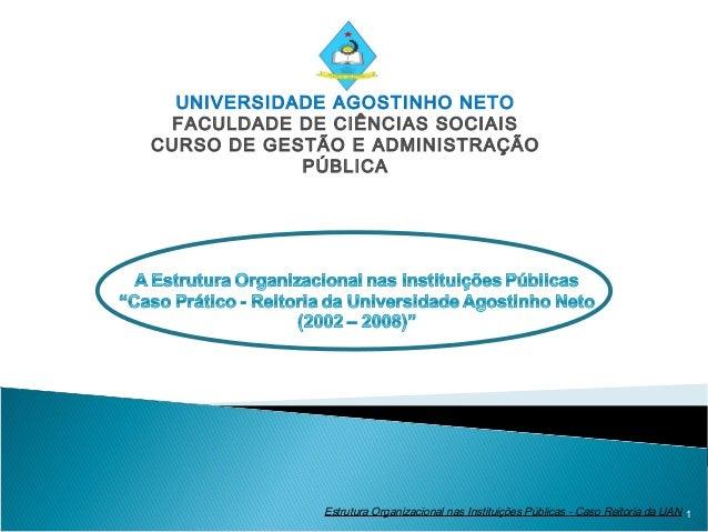UNIVERSIDADE AGOSTINHO NETO FACULDADE DE CIÊNCIAS SOCIAISCURSO DE GESTÃO E ADMINISTRAÇÃO            PÚBLICA             Es...