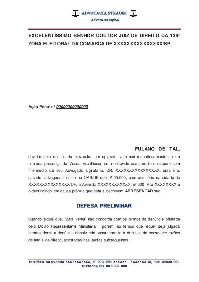 Defesa Preliminar Penal Eleitoral