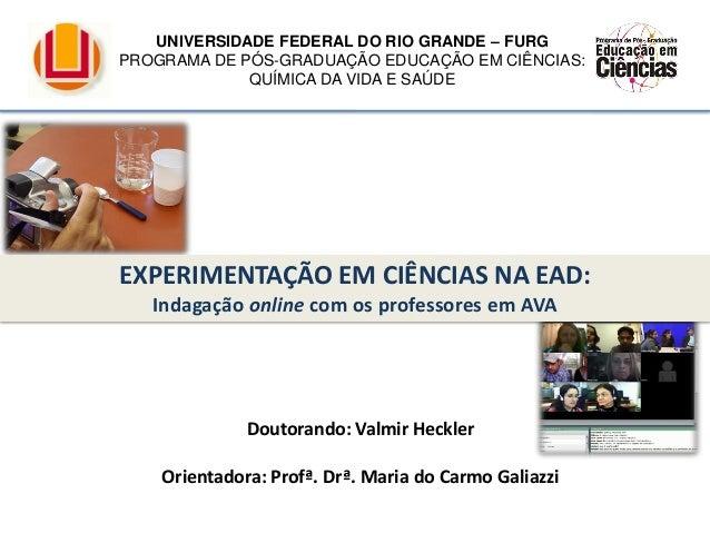 Doutorando: Valmir Heckler Orientadora: Profª. Drª. Maria do Carmo Galiazzi EXPERIMENTAÇÃO EM CIÊNCIAS NA EAD: Indagação o...
