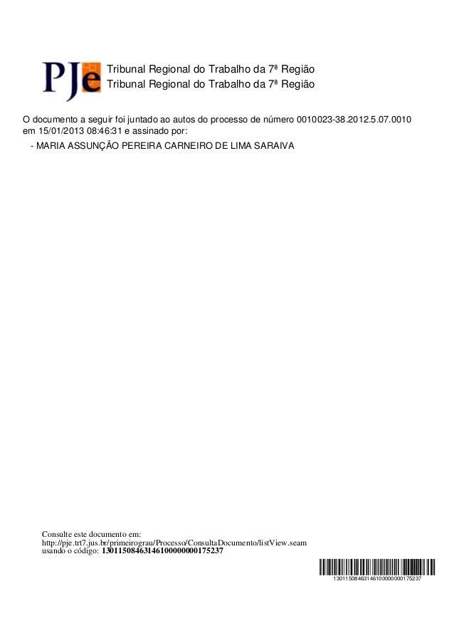 Tribunal Regional do Trabalho da 7ª Região                      Tribunal Regional do Trabalho da 7ª RegiãoO documento a se...