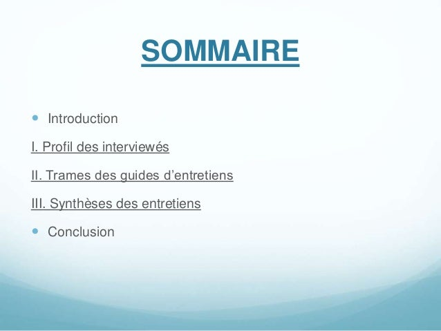 SOMMAIRE  Introduction I. Profil des interviewés II. Trames des guides d'entretiens III. Synthèses des entretiens  Concl...