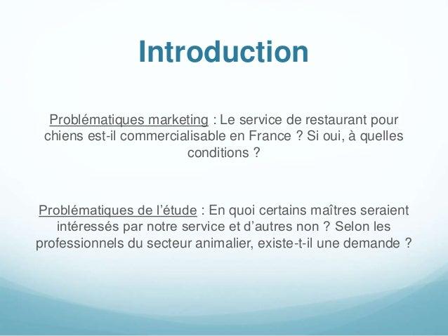 Introduction Problématiques marketing : Le service de restaurant pour chiens est-il commercialisable en France ? Si oui, à...