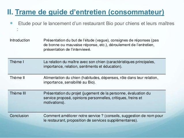 II. Trame de guide d'entretien (consommateur)  Etude pour le lancement d'un restaurant Bio pour chiens et leurs maîtres :...
