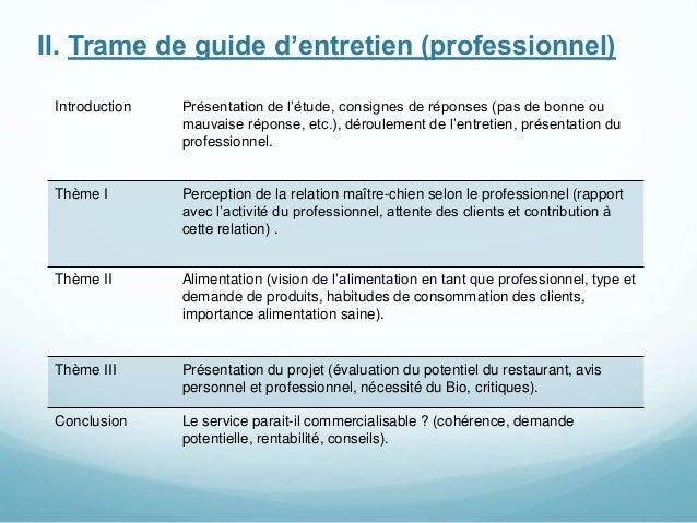 II. Trame de guide d'entretien (professionnel) Introduction Présentation de l'étude, consignes de réponses (pas de bonne o...