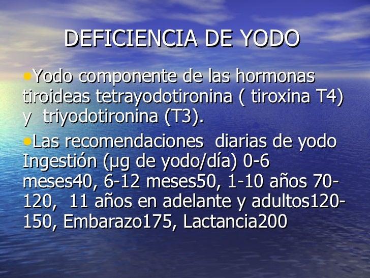 DEFICIENCIA DE YODO <ul><li>Yodo componente de las hormonas tiroideas tetrayodotironina ( tiroxina T4) y  triyodotironina ...