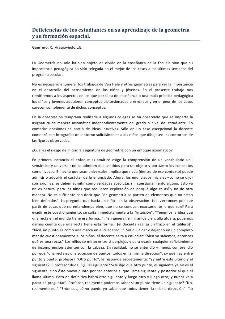 Deficiencias de los estudiantes en su aprendizaje de la geometría y su formación espacial.  Guerrero, R. Araújoviedo.L.E. ...