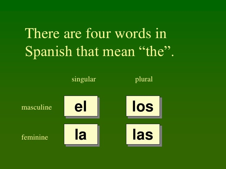 "There are four words in  Spanish that mean ""the"".             singular   plural   masculine   el         los feminine    l..."