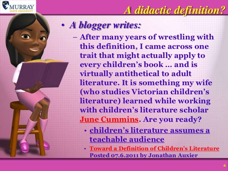 ... 6. A Didactic Definition?