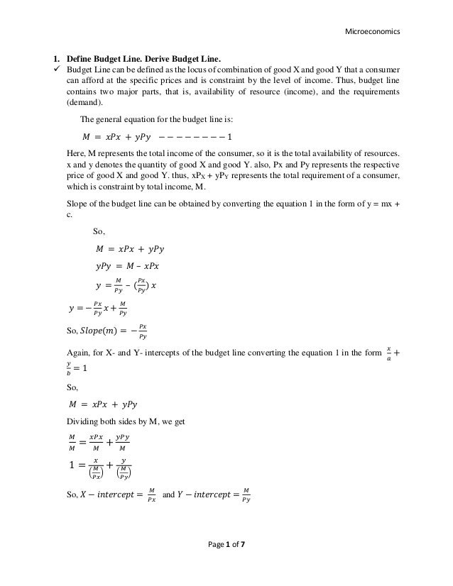 Microeconomics: Concept of Indifference Curve and Budget Line. Defini…