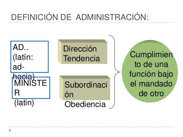 DEFINICIÓN DE ADMINISTRACIÓN: AD.. (latín: ad- hacia) Dirección Tendencia MINISTE R (latin) Subordinaci ón Obediencia Cump...