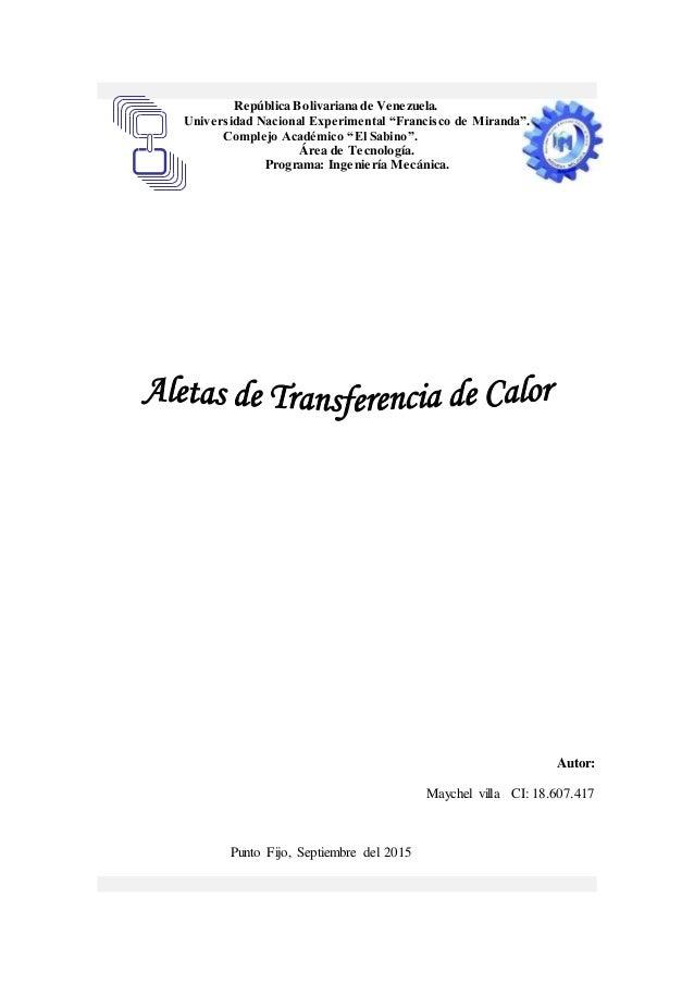"""República Bolivariana de Venezuela. Universidad Nacional Experimental """"Francisco de Miranda"""". Complejo Académico """"El Sabin..."""
